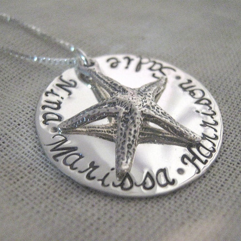 Starfish Necklace - Hand Stamped  Family Necklace