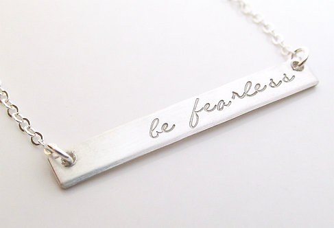 Be Fearless - Personalized Silver Bar Necklace
