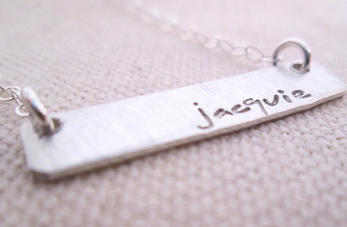 Personalized Jewelry - Silver Bar Necklace