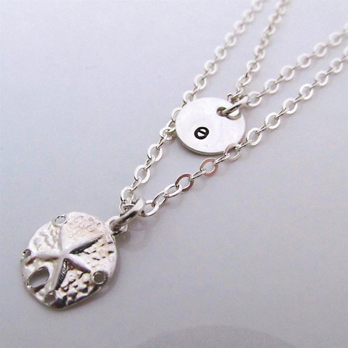 Silver Double Strand Necklace - Sand dollar Neckla