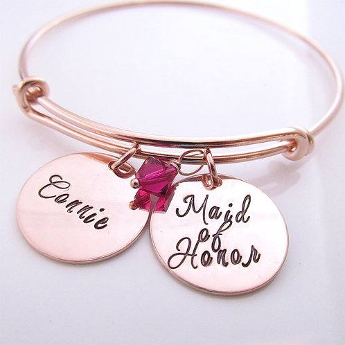 Maid of Honor - Rose Gold Filled Personalized