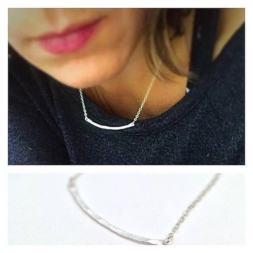 Silver Bar Necklace - Curved Bar