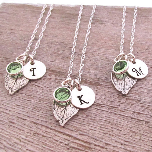 Set of 3 - Bridesmaid Initial Jewelry - Leaf