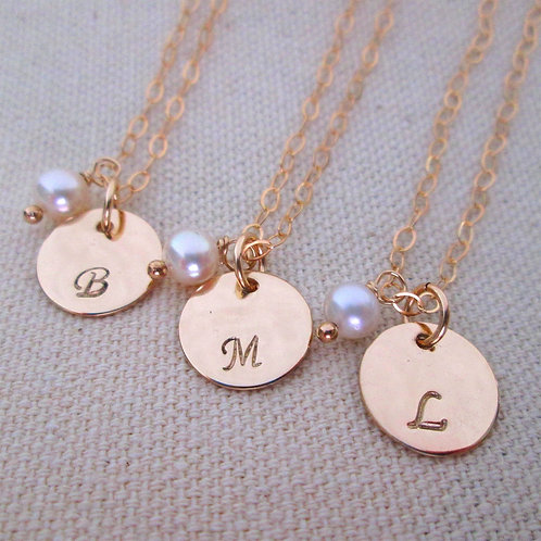 Gold Bridesmaid Jewelry - 3 Intiial Necklaces