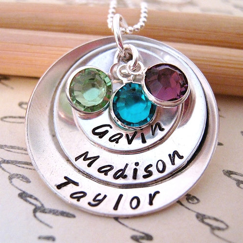 Mothers Birthstone Necklace - Extra Large