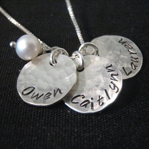 Hand Stamped Mommy Necklace - Three Loves