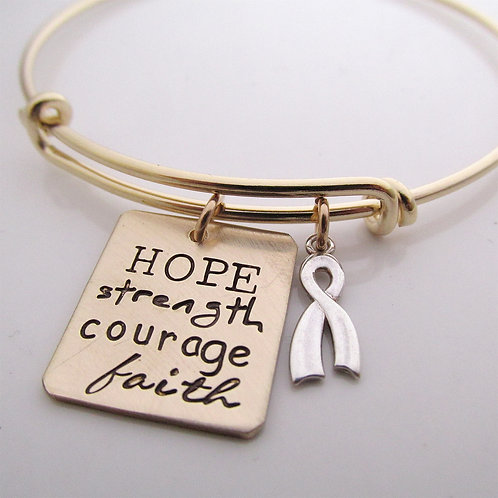 Hope - Awareness Ribbon - hand stamped jewelry