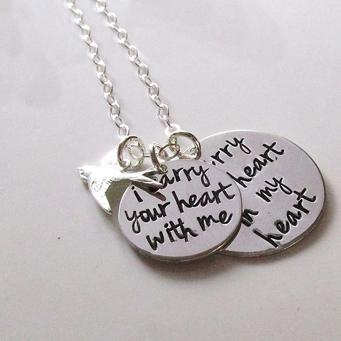 Memorial Necklace - I Carry Your Heart In My Heart