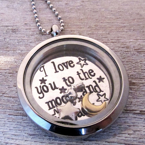 Moon and Back Locket - Mothers Necklace