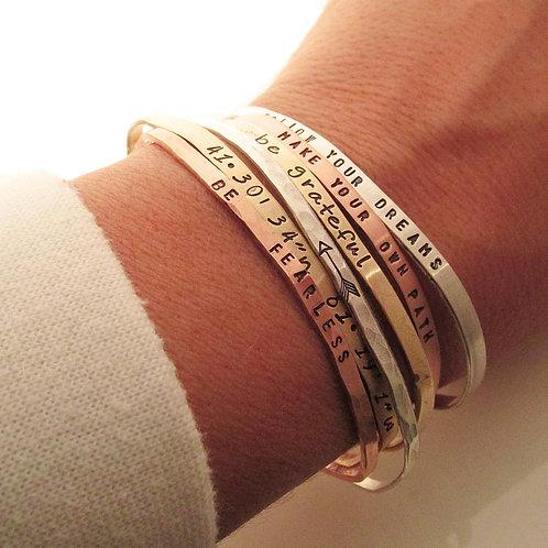 6 Skinny Cuff Bracelets -  Handstamped Bracelet -