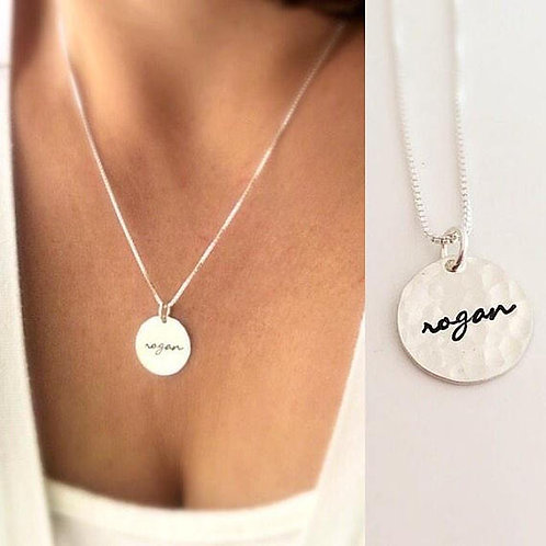 Simple Hammered Disk Necklace with Name