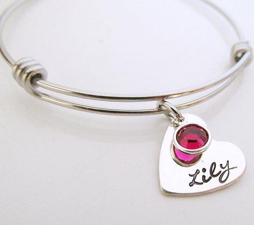 Custom Name Bracelet - Colorful Hearts Birthstone