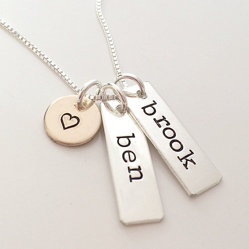 Hand Stamped Necklace - Sweetly - Personalized Nec