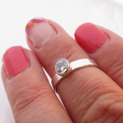 sterling silver simulated birthstone ring