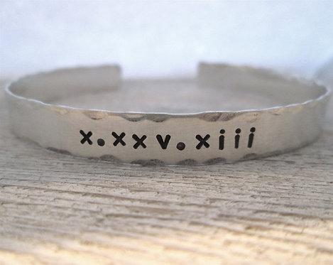 Roman Numeral Date cuff bracelet
