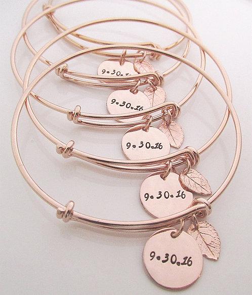Rose Gold Filled Leaf Bracelet - Set of 5