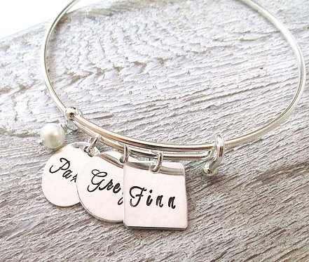 Hand Stamped Adjustable Mother's Bangle Bracelet