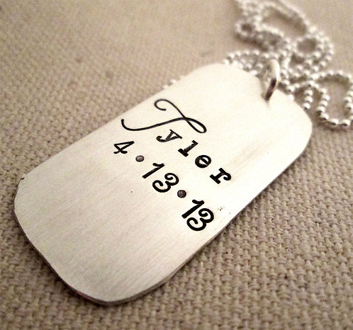 Birth -Personalized Dog Tag Necklace