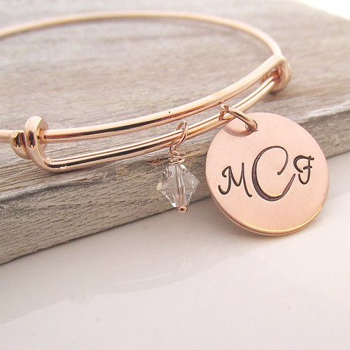 Monogram - Rose Gold Filled Charm Bracelet