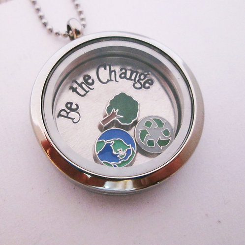 Be the Change Necklace - Floating Charm Locket