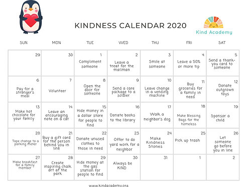 30 Days of Kindness Calendar
