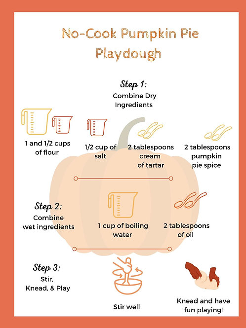 No Cook Pumpkin Pie PlayDough Recipe Card