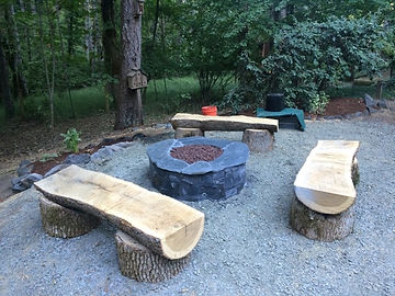 Outdoor benches and paver firepit