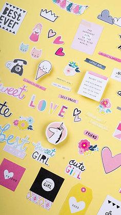 Sticker Die Cut - Cute Girl (không keo dán)