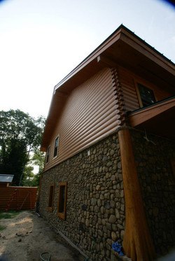 cypress log home side stain