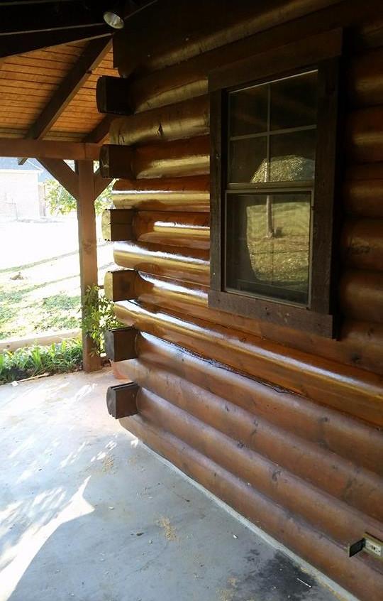 repaired log home corner