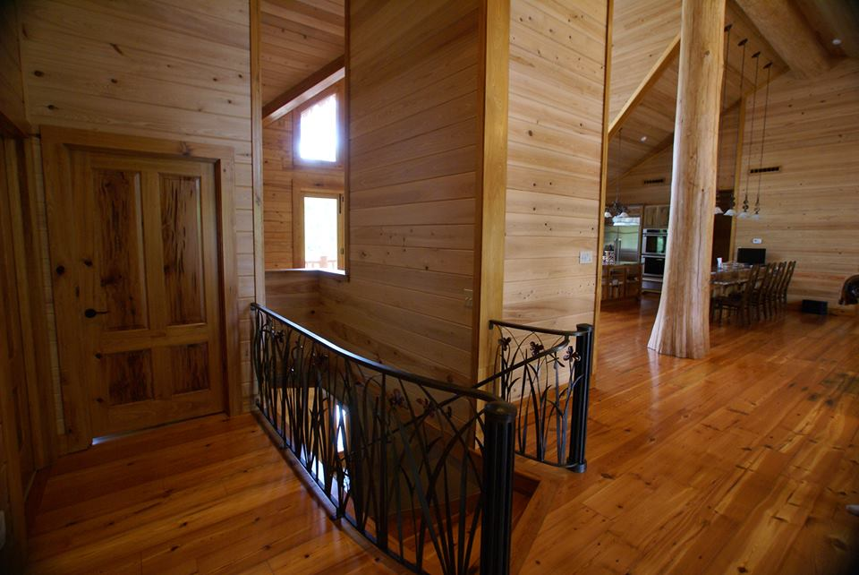Custom log home staircase
