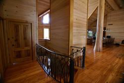 Custom log home staircase