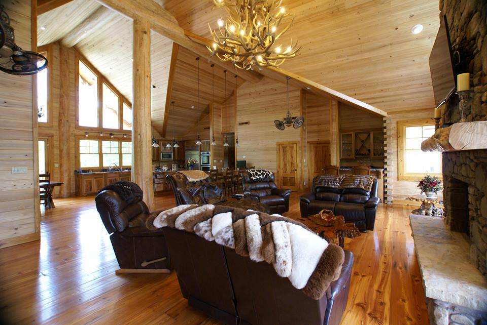 Cypress log home interior