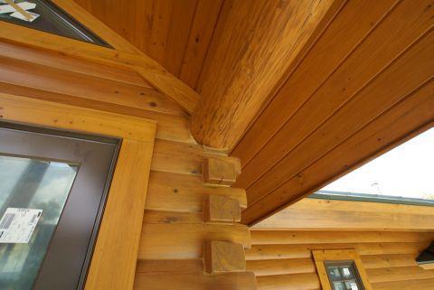 cypress log home porch