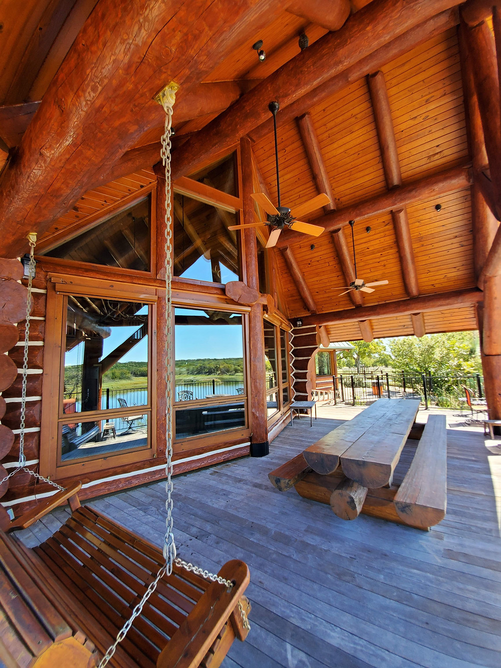 Log Home Stain Porch