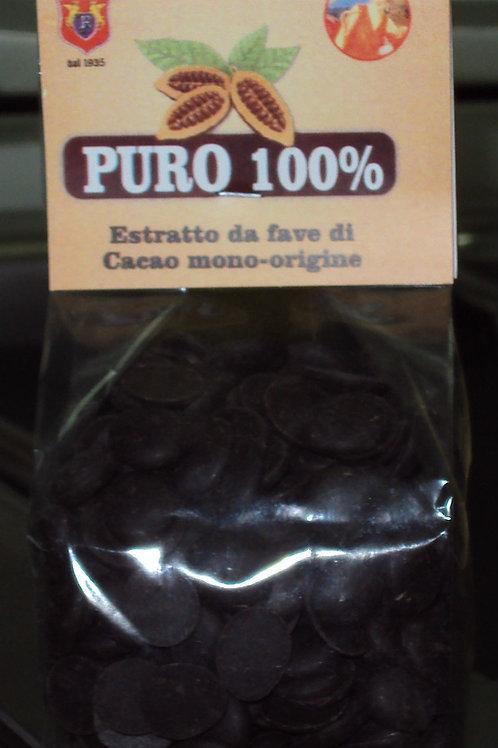 CIOCCOLATO PURO 100% ESTRATTO DA FAVE DI CACAO MONO-ORIGINE GHANA-ASHANTI 100G