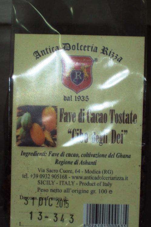 """FAVE DI CACAO TOSTATE """"CIBO DEGLI DEI"""" DOLCERIA RIZZA DAL 1935 SICILIA 100 G"""