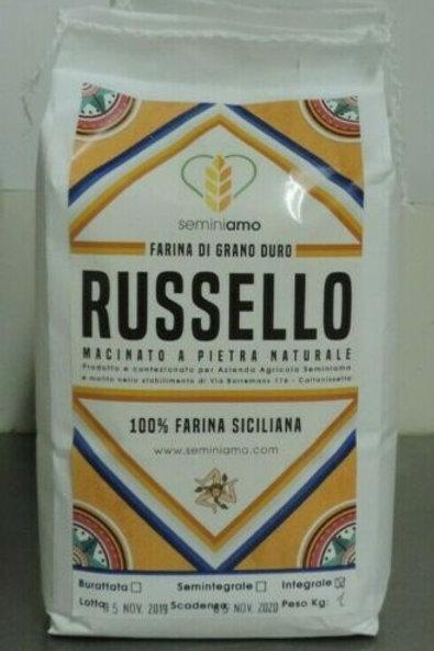 """farina di grano duro """" RUSSELLO """" macinata a pietra 100 % Siciliana 1 kg"""