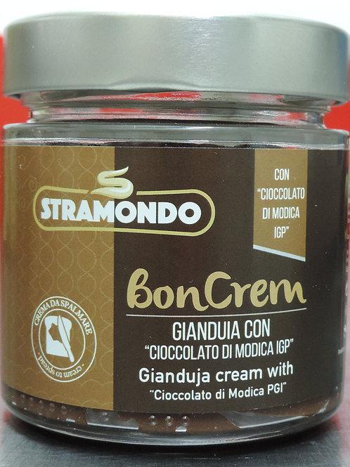 """Crema spalmabile gianduia con """" cioccolato di modica igp"""" senza glutine 200 g"""