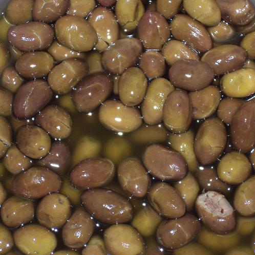 olive verdi schiacciate con nocciolo AGLIO ORIGANO 250g