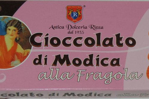 CIOCCOLATO DI MODICA ALLA FRAGOLA ANTICA DOLCERIA RIZZA DAL 1935 SICILIA 60 G