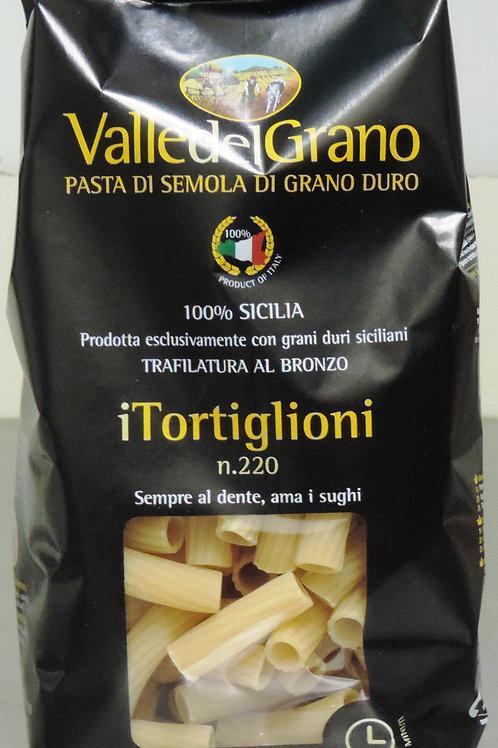 PASTA DI SEMOLA DI GRANO DURO 100 % SICILIA TORTIGLIONI VALLE DEL GRANO 500 G