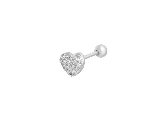 Single Sparkly Heart Stud Earring