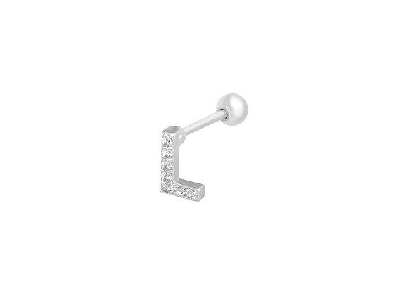 Silver Initial Ear Stud
