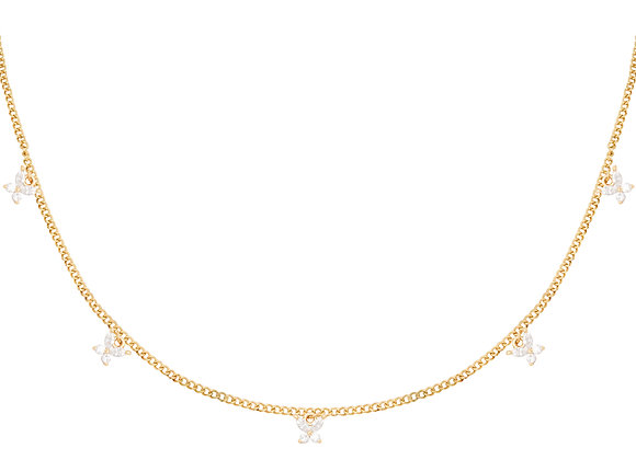 Kylie Sparkly Butterfly Necklace Gold/Silver