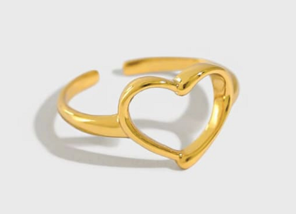 Adjustable Hollow Heart Ring GOLD/SILVER