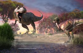 Tyrannasaurous Rex and Pachycephalousaurus