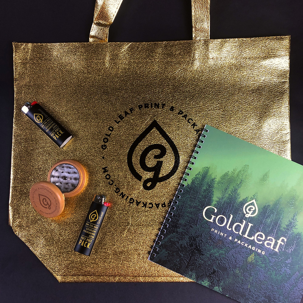 Cannabis-Promotional-Items_Gold-Leaf-Print-and-Packaging