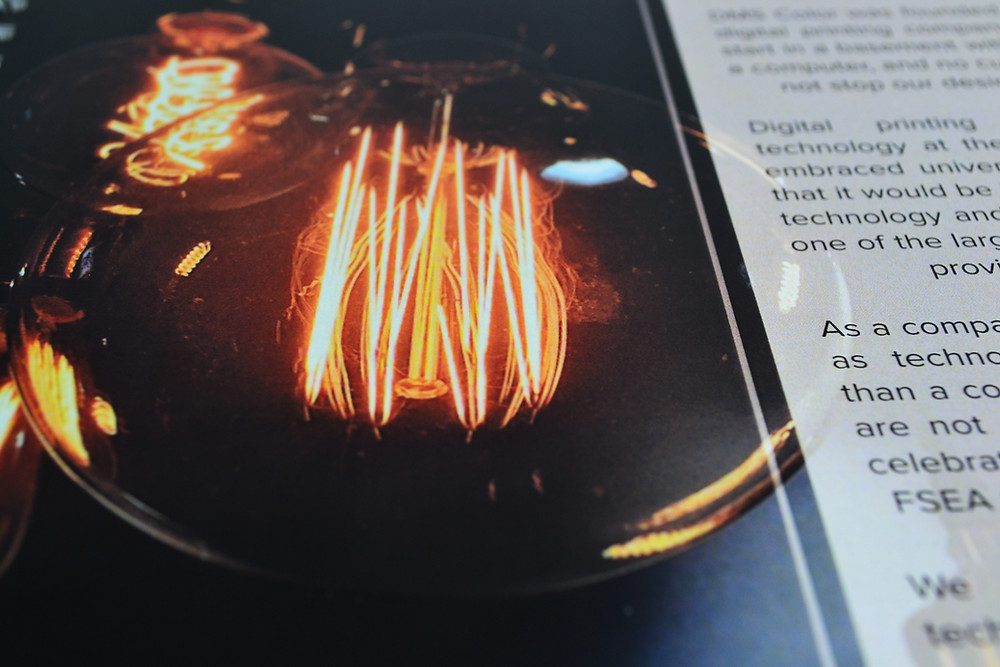 Printed with raised varnish, Gold Leaf Packaging creates a 3D-like glass effect on the light bulb