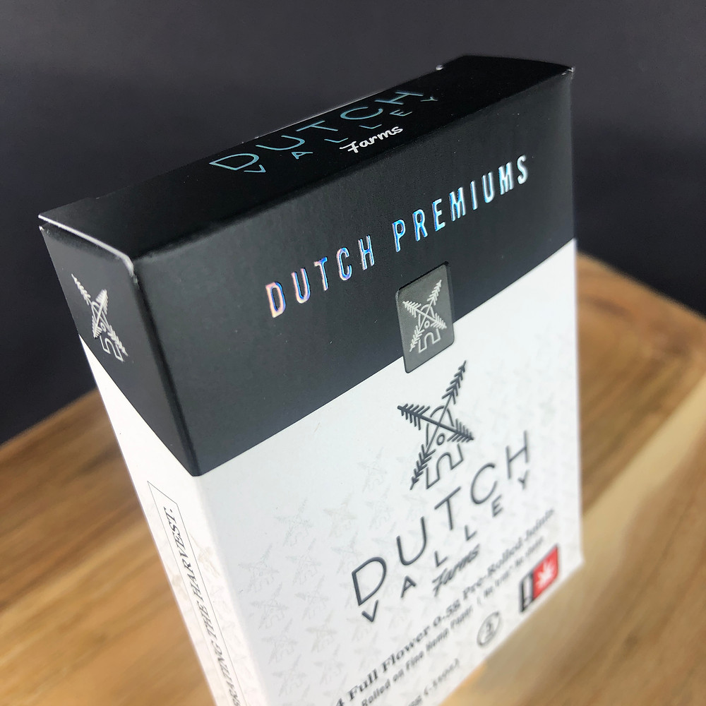 Gold Leaf Packaging creates a strong pre-roll box for Dutch Valley Farms with continuous color around corners using white glue tabs and soft touch over laminate.